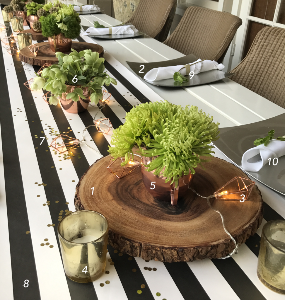 Farm to Table Dinner Party Table Decor Products Used